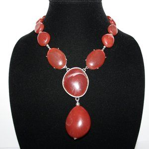 Beautiful silver and red stone bib necklace